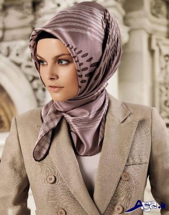 مدل بستن روسری چهارگوش شیک