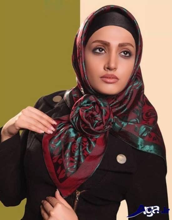 مدل بستن روسری چهارگوش فوق العاده زیبا