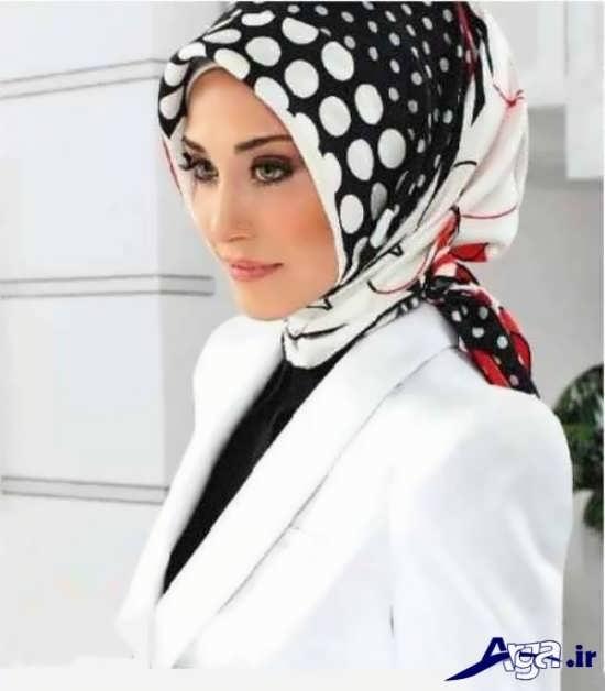 مدل بستن روسری چهارگوش سفید