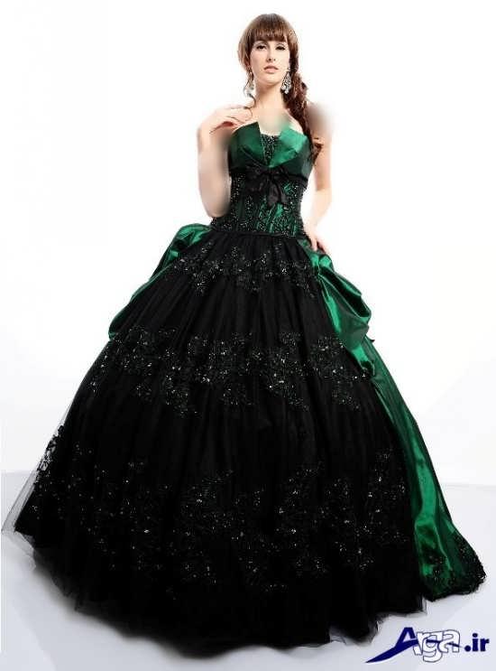 مدل لباس پرنسسی سبز
