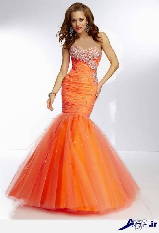 مدل لباس پرنسسی نارنجی
