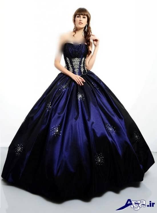 مدل لباس پرنسسی آبی زیبا