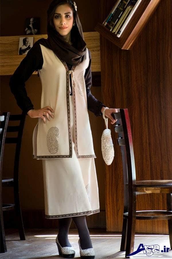 مدل سارافون جلو باز سنتی با دامن