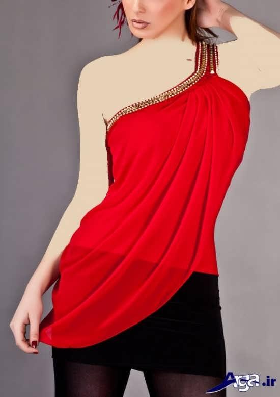 مدل تاپ زنانه مجلسی قرمز