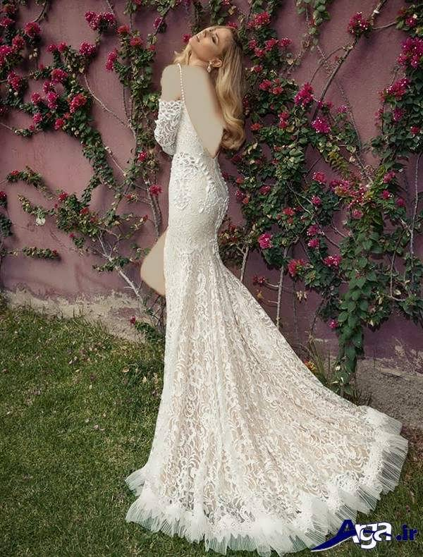 مدل لباس عروس گیپور دنباله دار