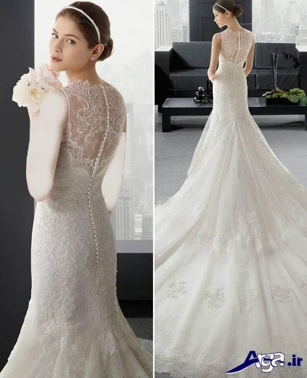 لباس عروس گیپور با دامنه بلند