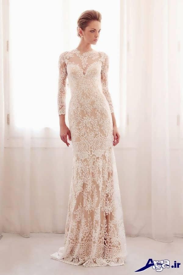 مدل لباس عروس گیپور ساده