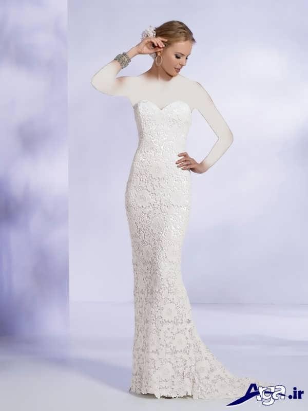 لباس عروس گیپور دکلته