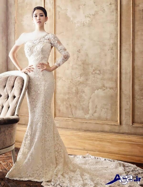 مدل لباس عروس گیپور دنباله دار ماهی