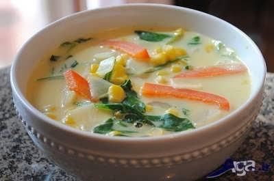 تزیین سوپ جو با سبزیجات