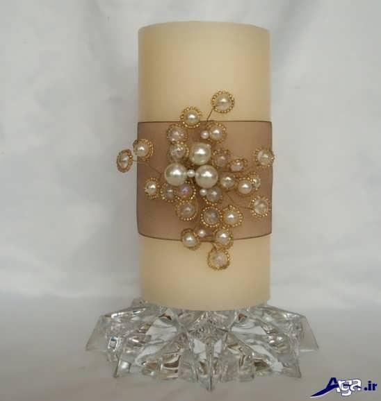 تزیین روی شمع با مروارید