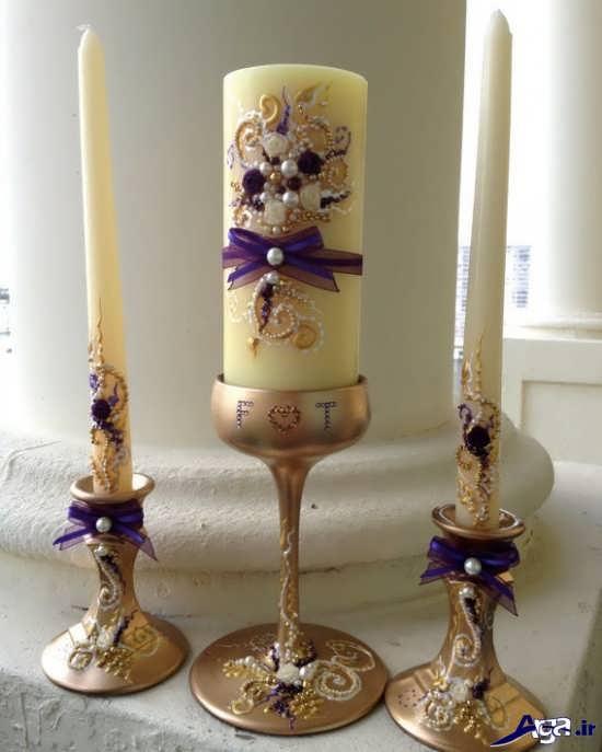 عکس شمع تزیین شده با مروارید
