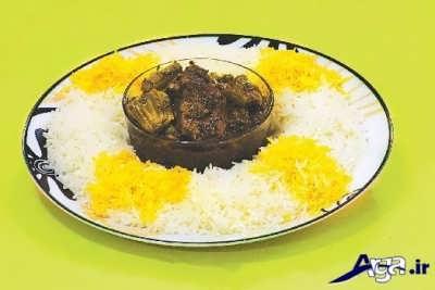 خورش کرفس با برنج زعفرانی
