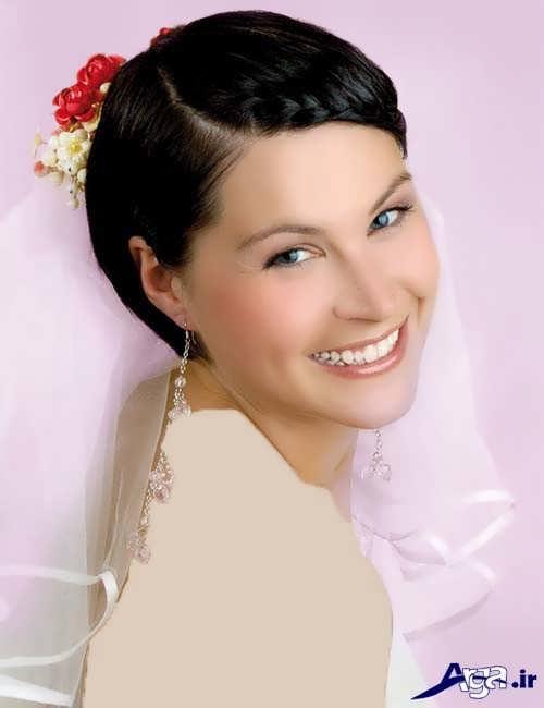 شینیون ساده برای موی کوتاه عروس