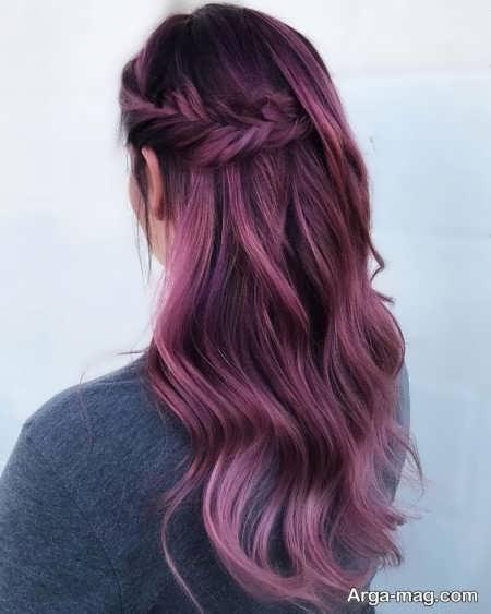 رنگ موی بادمجانی دخترانه