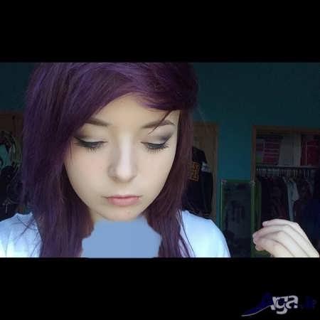 رنگ موهای بی نظیر بادمجانی