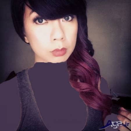تصاویر رنگ موی بادمجانی