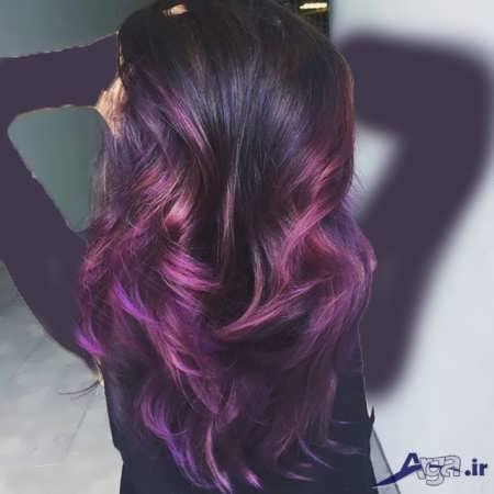 مدل مو بلند با رنگ مو بادمجانی