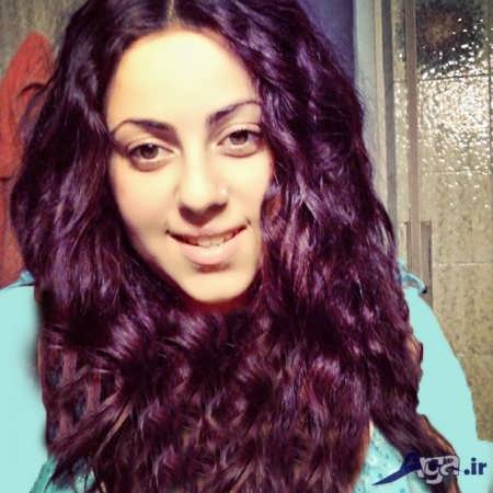 مدل موی فر با رنگ مو بادمجانی