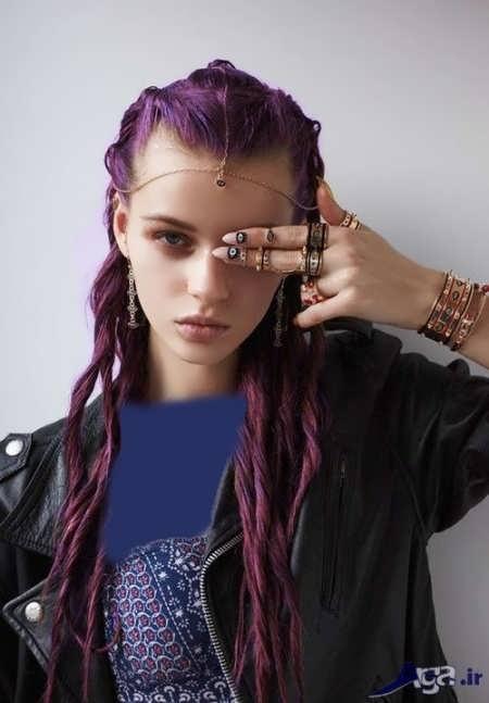 رنگ مو زیبا بادمجانی