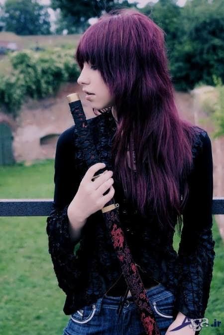 مدل موی بلند با رنگ مو بادمجانی