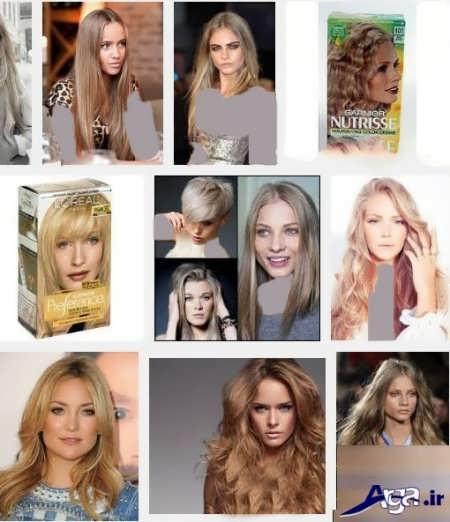 تصاویر انواع رنگ موهای ترکیبی بژ