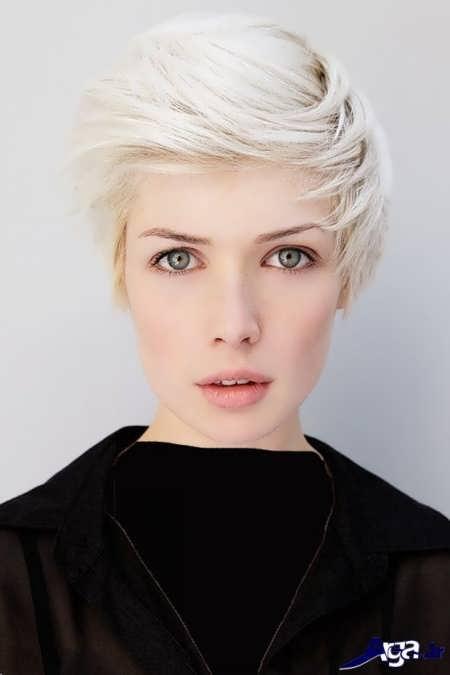 مدل موی کوتاه با رنگ بژ استخوانی روشن