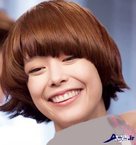 مدل موی کوتاه با رنگ موی تنباکویی