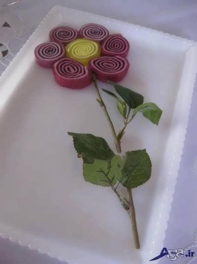 تزیین ژله رولتی به شکل گل