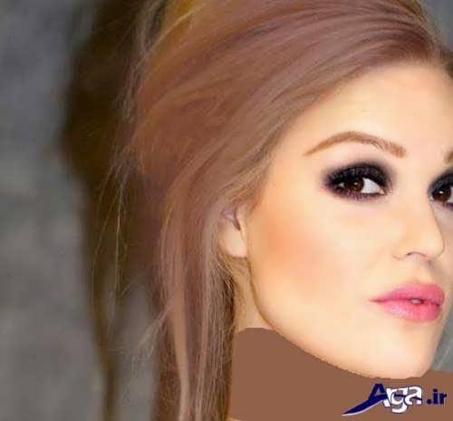 رنگ موی شکلاتی ماهگونی روشن با هایلایت