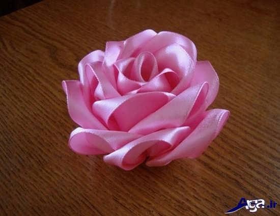 درست کردن گل رز با روبان