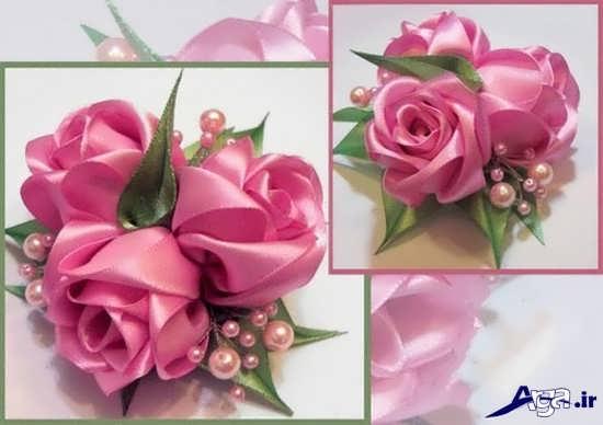 گل رز ساخته شده با روبان