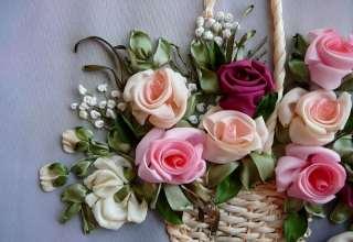 آموزش درست کردن گل با روبان