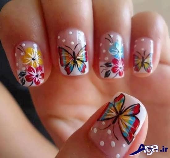 طراحی ناخن با طرح پروانه