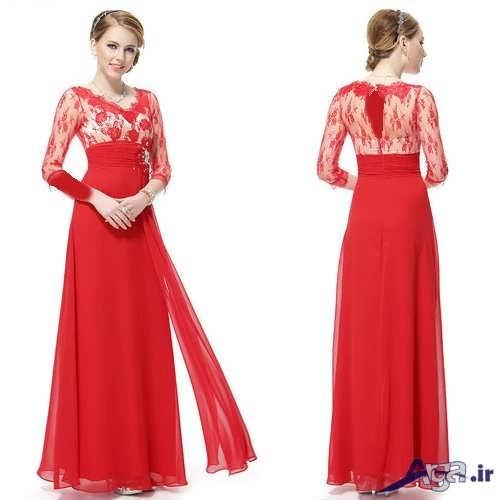 لباس نامزدی گیپور دار قرمز