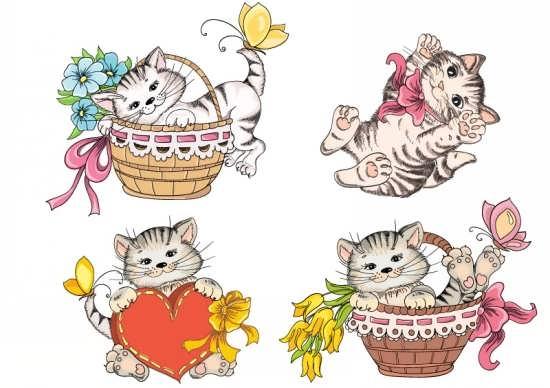 نقاشی زیبا از گربه های رنگ شده