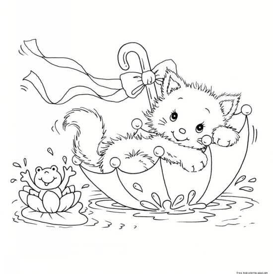 نقاشی زیبا چتر و گربه