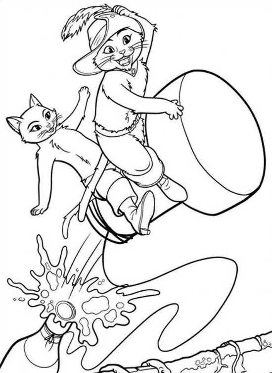گربه های چکمه پوش برای رنگ آمیزی کودکان