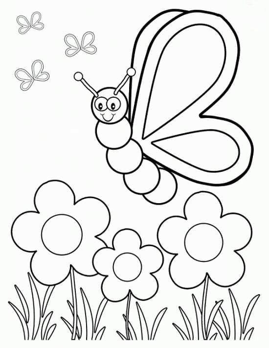 نقاشی گل و پروانه برای رنگ آمیزی کودکان