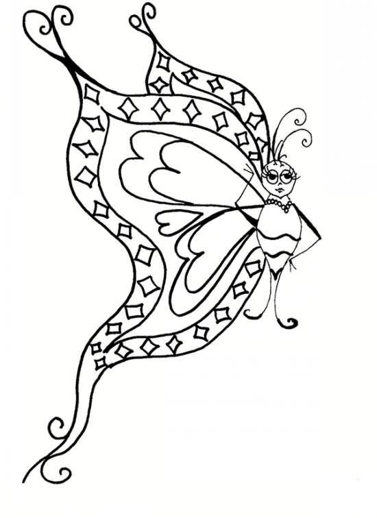 نقاشی زیبا و جذاب پروانه برای رنگ آمیزی کودکان