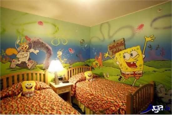 نقاشی باب اسفنجی روی دیوار