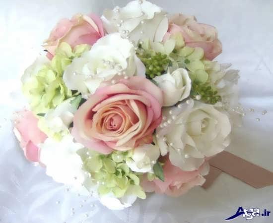 مدل دسته گل عروس سفید و صورتی