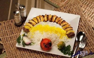 تزیین برنج با جوجه کباب