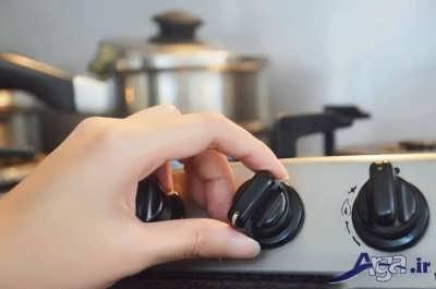 تنظیم کردن حرارت گاز برای دم کشیدن کته