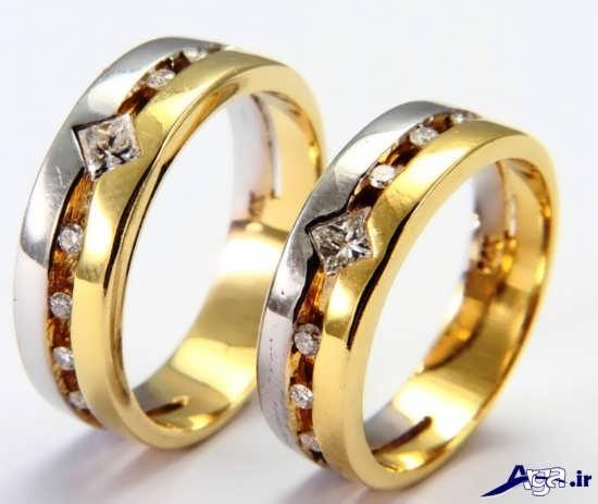 مدل حلقه ازدواج دو رنگ