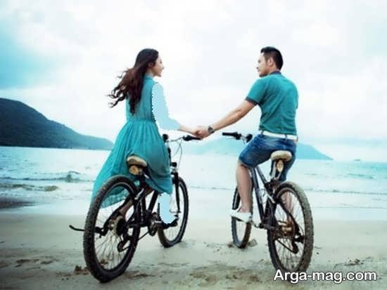 عکسهای عاشقانه نوعروس و تازه داماد با تیپ اسپرت