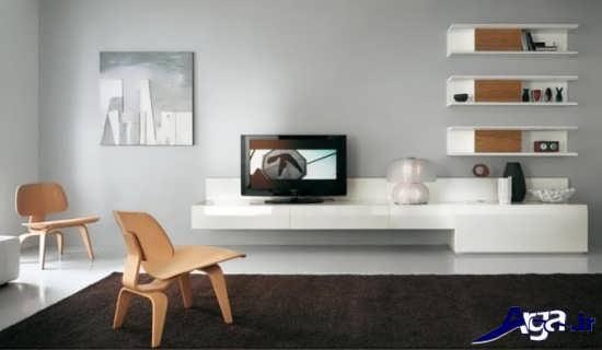 مدل میز تلویزیون سفید دیواری