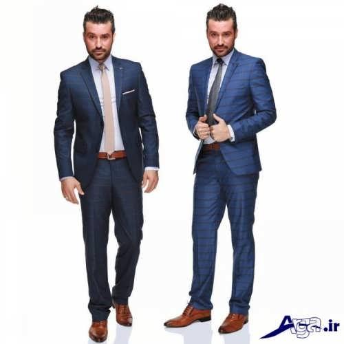 مدل کت و شلوار مردانه با پارچه خط دار