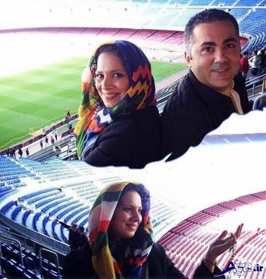 بازیگر زن ایرانی در ورزشگاه بارسلونا