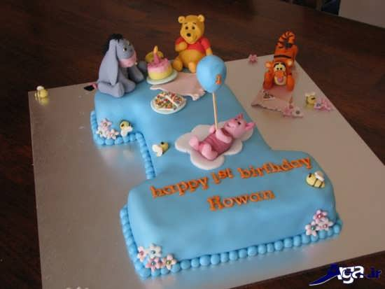 کیک برای تولد یک سالگی با عدد